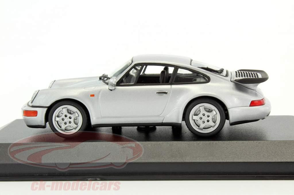Porsche 911 (964) Turbo year 1990 silver metallic 1:43 Minichamps