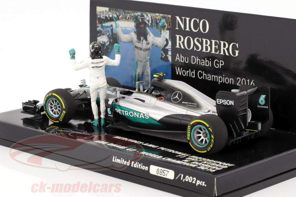 Nico Rosberg Mercedes F1 W07 Hybrid #6 Abu Dhabi GP World Champion F1 2016 With figure 1:43 Minichamps