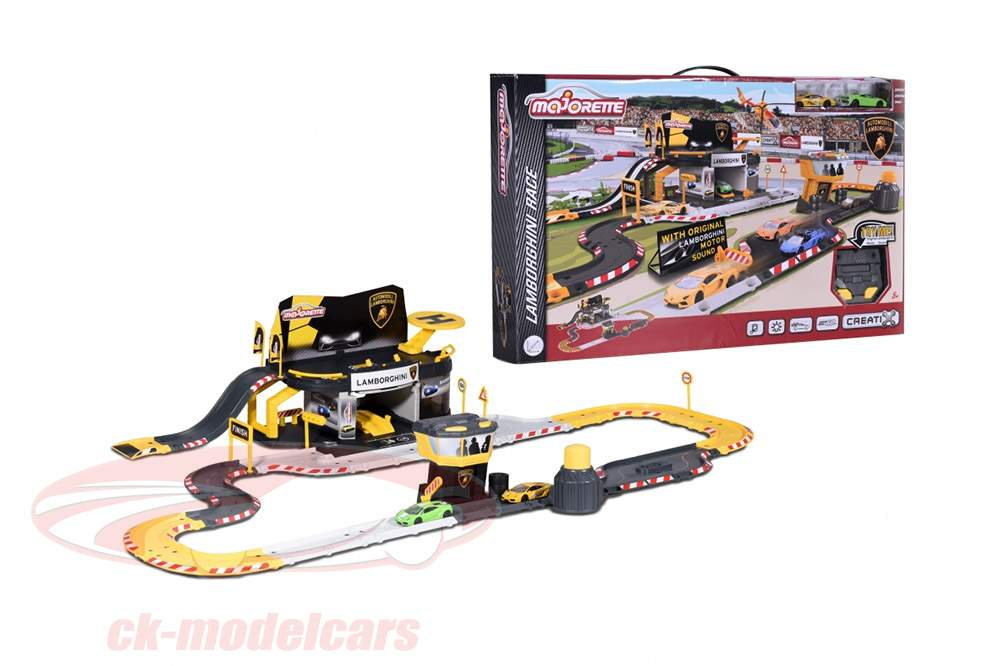 Creatix racecourse Lamborghini Race With 2 modelcars 1:64 Majorette