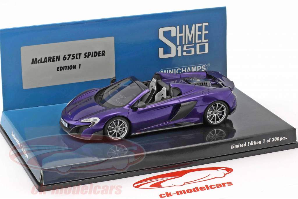 McLaren 675LT Spider Shmee150 orion purple 1:43 Minichamps