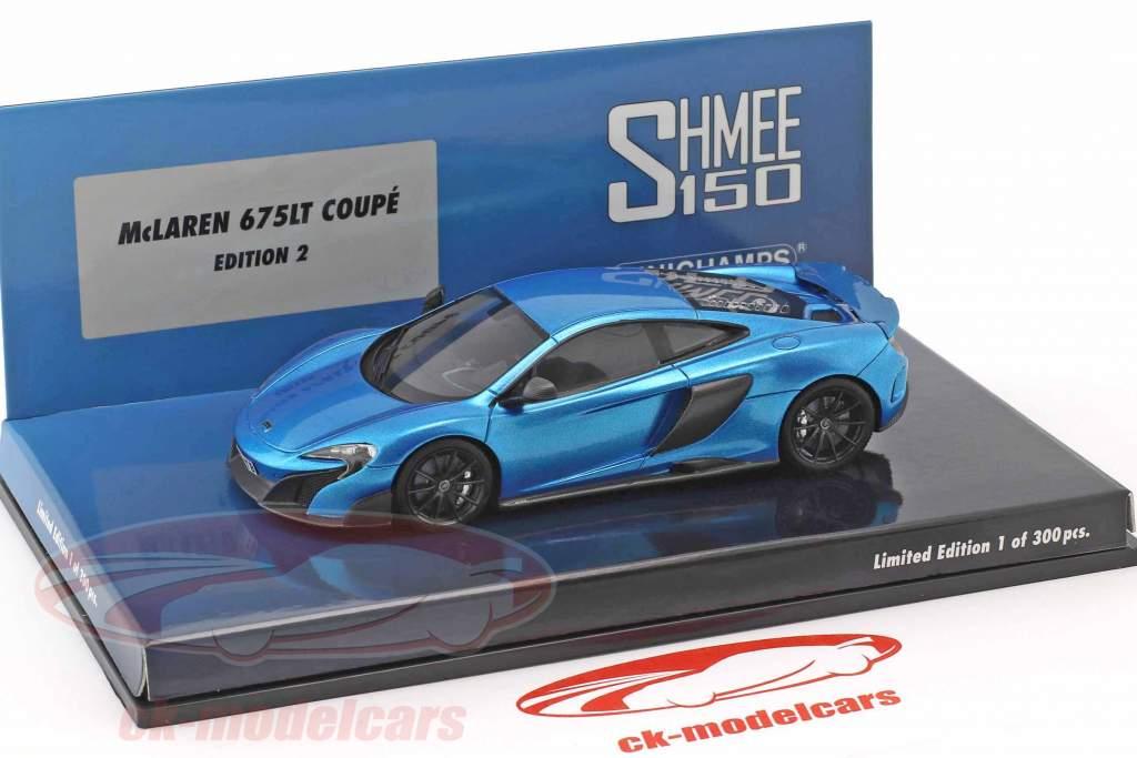 McLaren 675LT Coupe Shmee150 cerulean blue 1:43 Minichamps