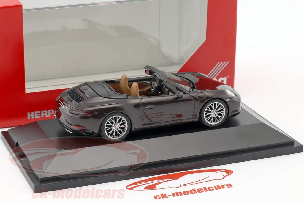 Porsche 911 (991) Carrera 4S Cabriolet braun metallic 1:43 Herpa