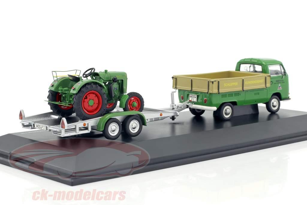 Volkswagen VW T2a Pick-up con trailer e Fendt Dieselross verde / beige / argento 1:43 Schuco