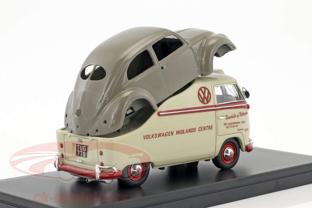 Volkswagen VW T1a Midlands Centre with VW Brezelkäfer body beige / red 1:43 Schuco