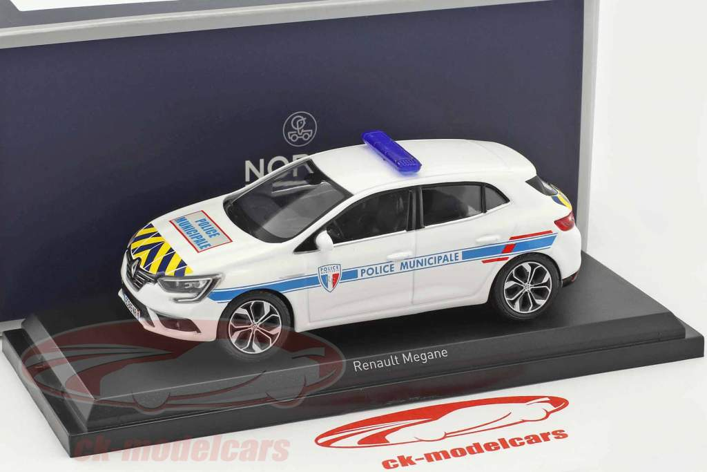 Renault Mégane Police Municipale year 2016 white with yellow-blue strip 1:43 Norev