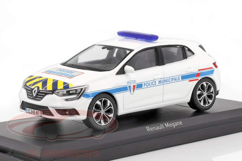 Renault Mégane Police Municipale Baujahr 2016 weiß mit gelb-blauen Streifen 1:43 Norev