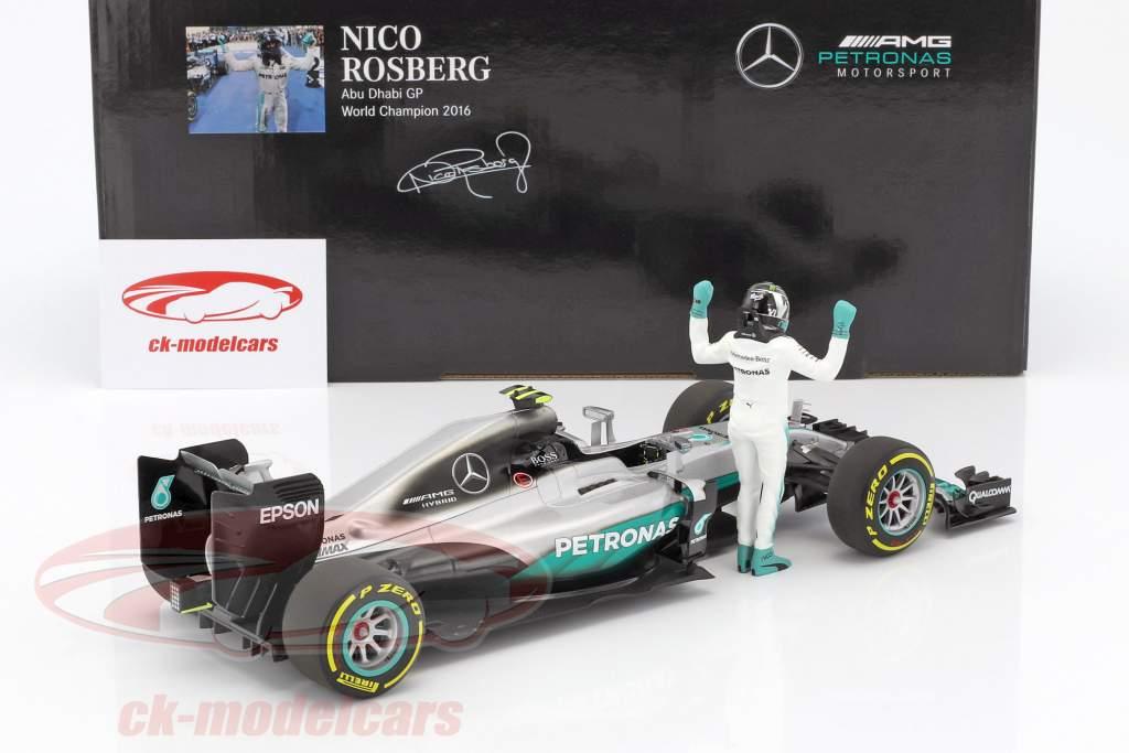Nico Rosberg Mercedes F1 W07 Hybrid #6 champion du monde formule 1 2016 avec conducteur figure 1:18 Minichamps