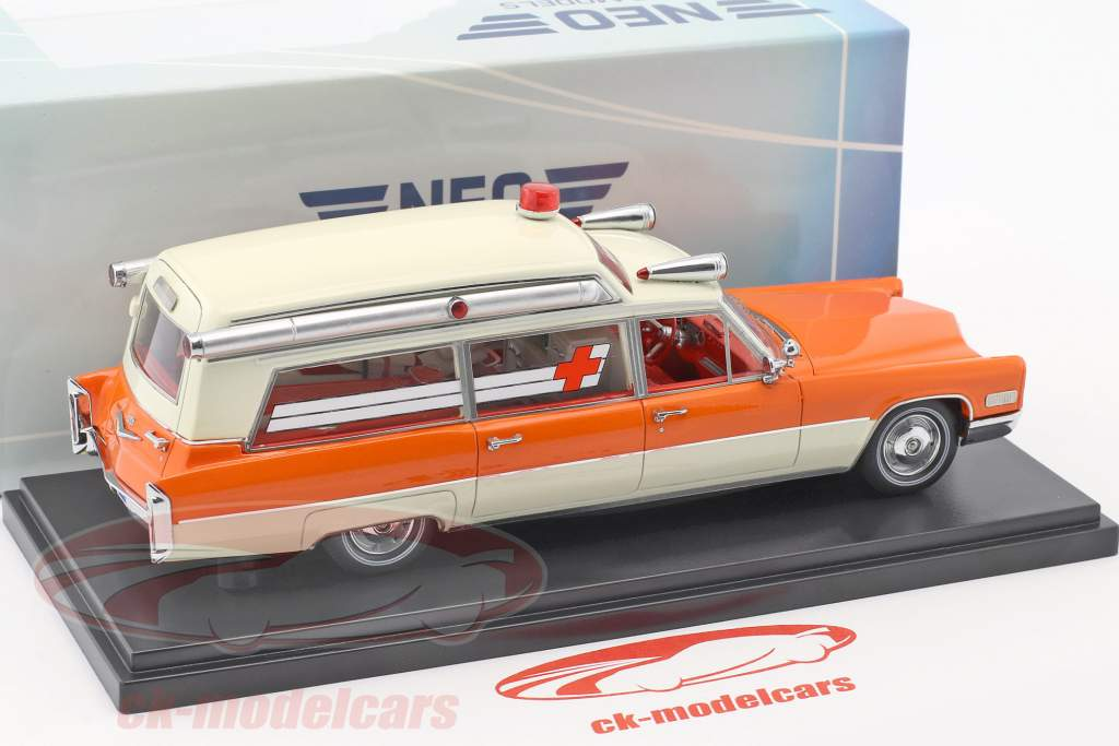 Cadillac High Top Ambulance orange / weiß 1:43 Neo