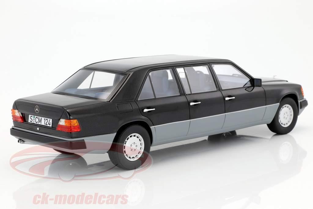 Mercedes-Benz E-Klasse W124 long année de construction 1990 noir / gris 1:18 Cult Scale