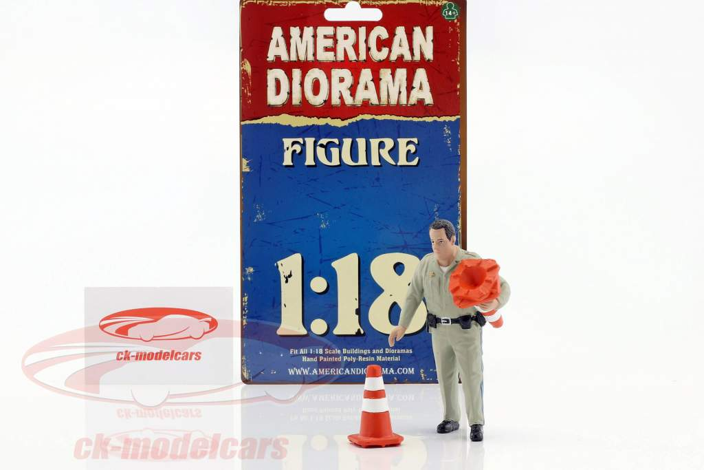 Police Highway Patrol figure II collection trafic cônes 1:18 American Diorama