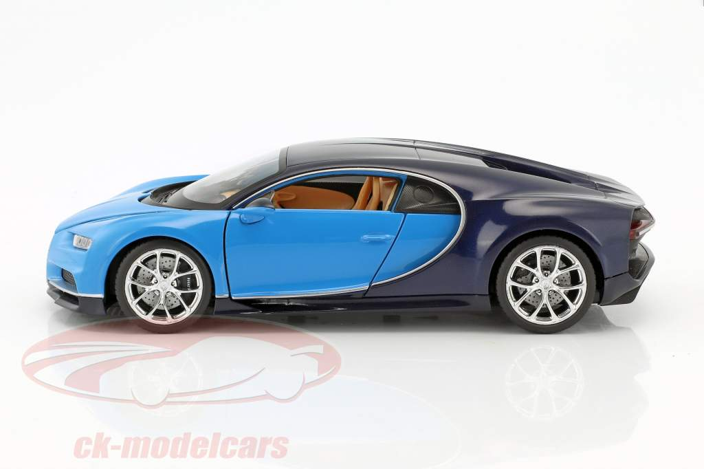 Bugatti Chiron anno di costruzione 2017 azzurro / blu scuro 1:24 Welly