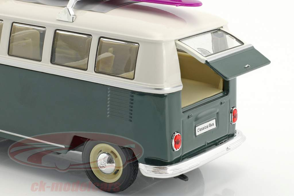 Volkswagen VW T1 Bus with surfboard year 1963 green / white 1:24 Welly