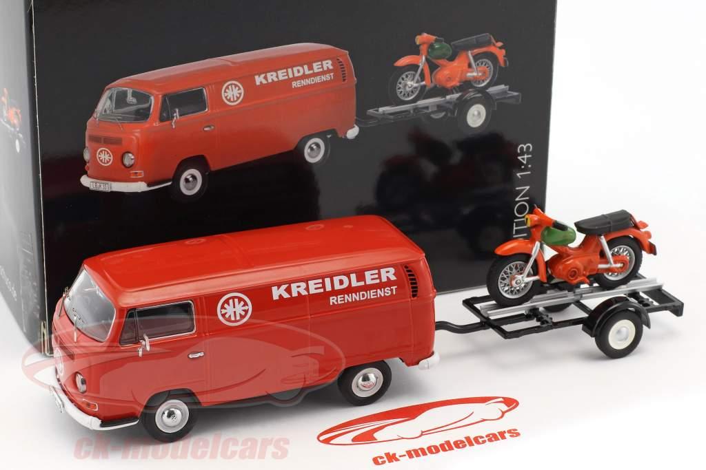 Volkswagen VWT2a Bus Kreidler Service mit Anhänger und Kreidler Florett rot 1:43 Schuco