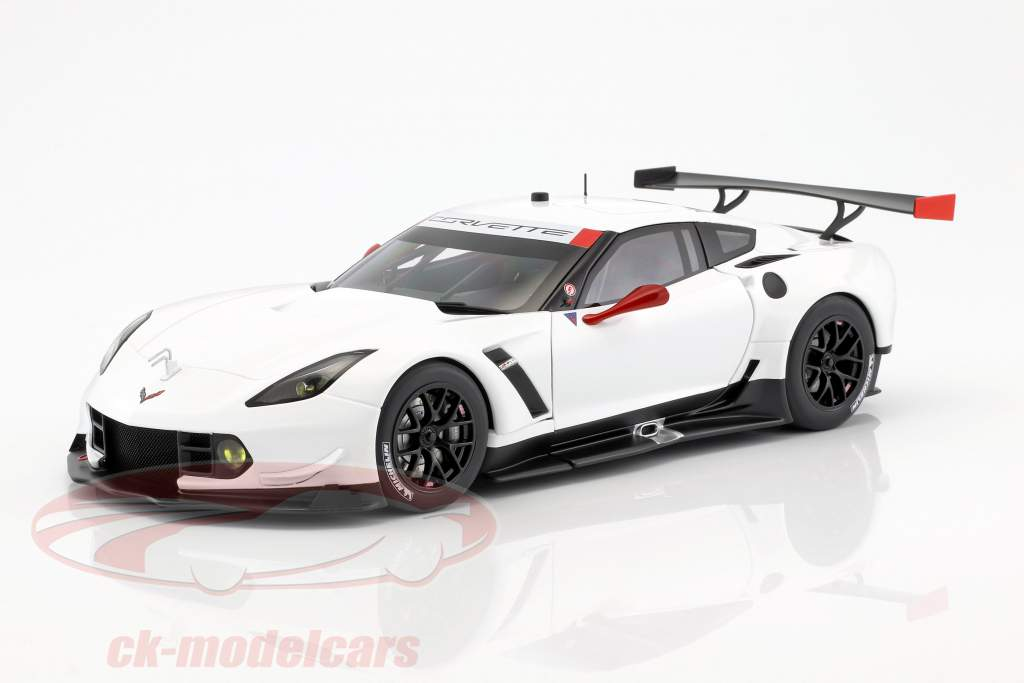 Chevrolet Corvette C7.R Plain Color Version year 2016 white / red 1:18 AUTOart