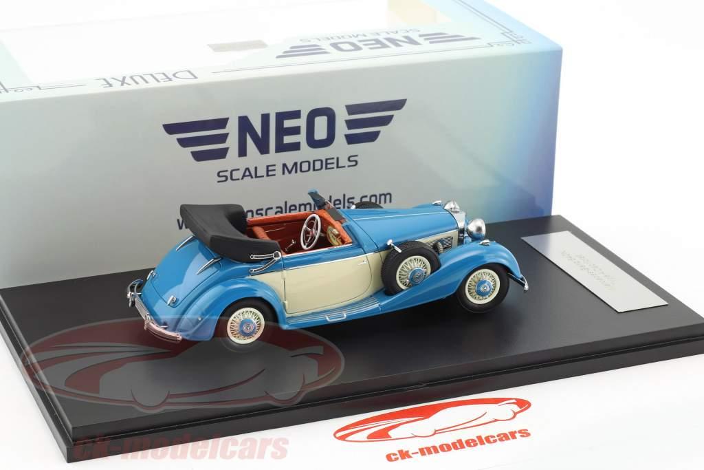 Mercedes-Benz 540K Typ A Cabriolet year 1936 blue / beige 1:43 Neo