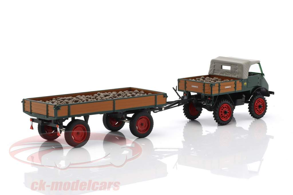Unimog U401 with trailer and potatoes green / brown 1:43 Schuco