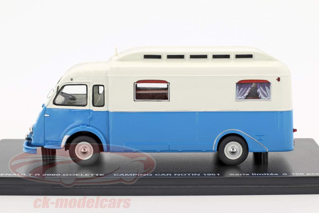 Renault R2060 Goelette Camping Car Notin Construction year 1951 blue / White 1:43 Momaco