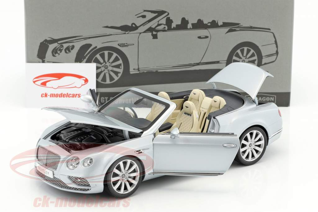Bentley Continental GT convertible RHD année de construction 2016 argent 1:18 Paragon Models