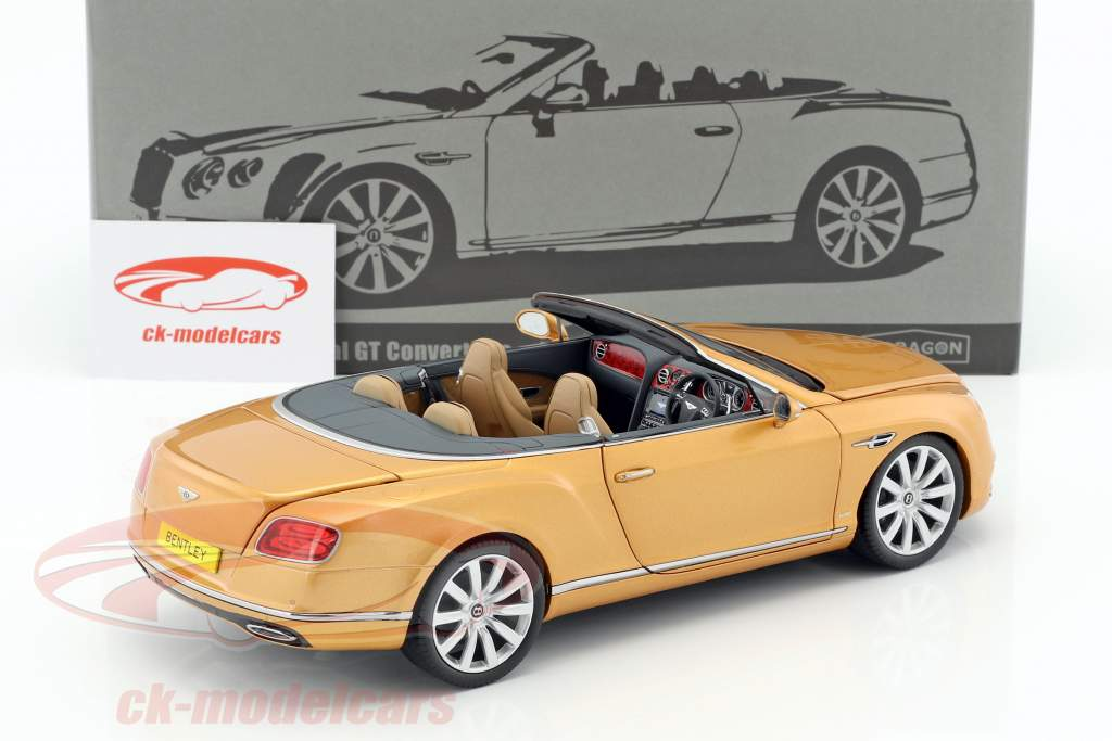 Bentley Continental GT Convertible RHD year 2016 sunburst gold 1:18 Paragon Models