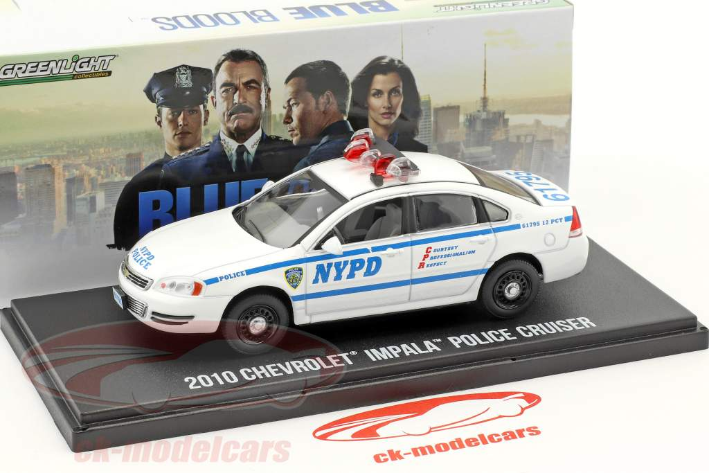 Chevrolet Impala Police Cruiser NYPD year 2010 TV series Blue Bloods White / blue 1:43 Greenlight