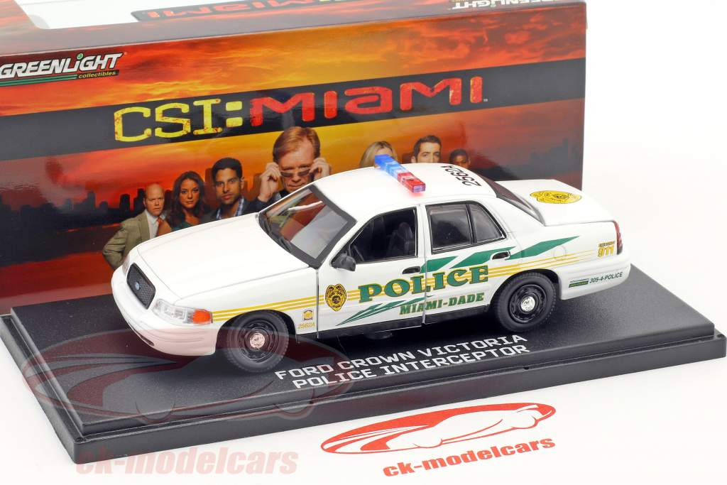 Ford Crown Victoria Police Interceptor anno di costruzione 2003 TV-Serie CSI: Miami bianco 1:43 Greenlight