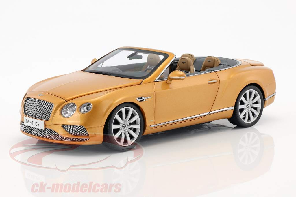 Bentley Continental GT convertible LHD année de construction 2016 Sunburst or 1:18 Paragon Models