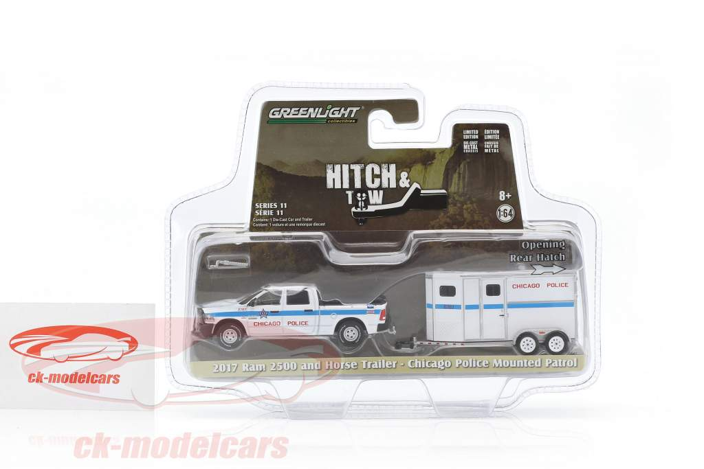 Dodge Ram 2500 and horse trailer Chicago Police Mounted Patrol 1:64 Greenlight