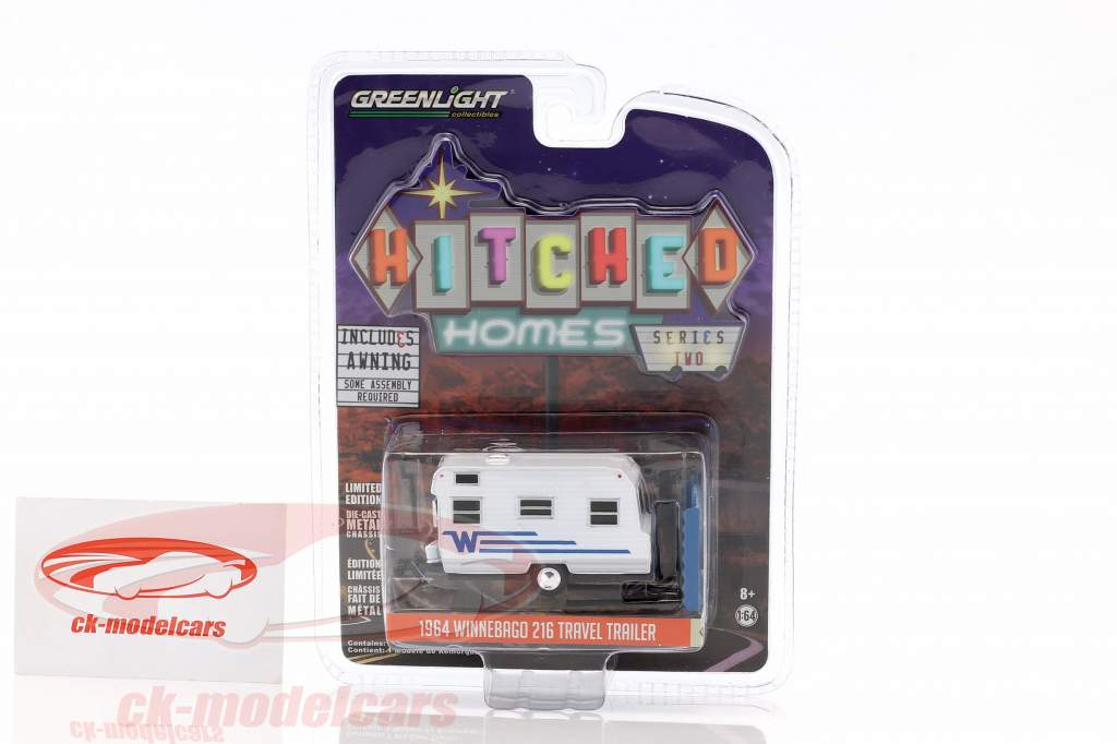Winnebago 216 Travel Trailer carovana anno 1964 bianco / blu 1:64 Greenlight