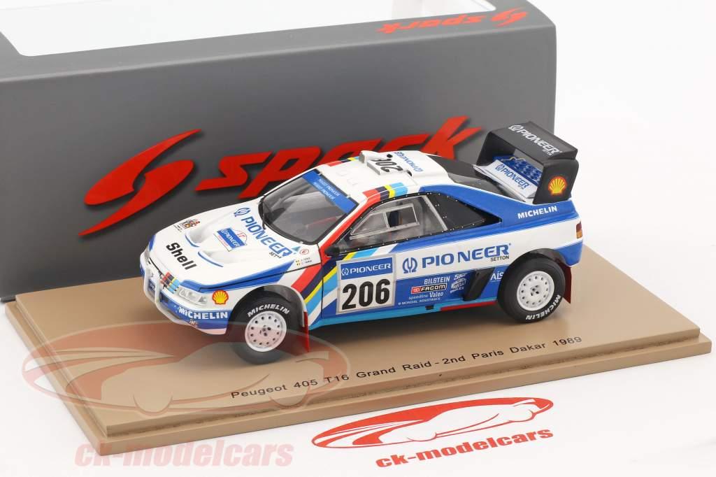 Peugeot 405 T16 Grand Raid #206 2nd Rally Dakar 1989 Ickx, Tarin 1:43 Spark