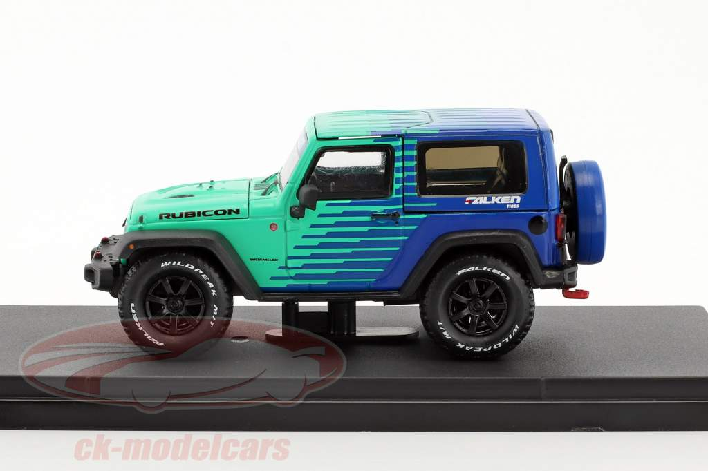 Jeep Wrangler Rubicon Falken Tires year 2014 blue / green 1:43 Greenlight