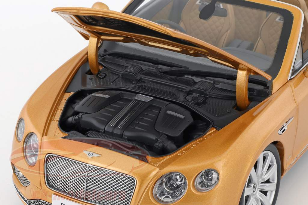Bentley Continental GT convertible RHD année de construction 2016 Sunburst or 1:18 Paragon Models