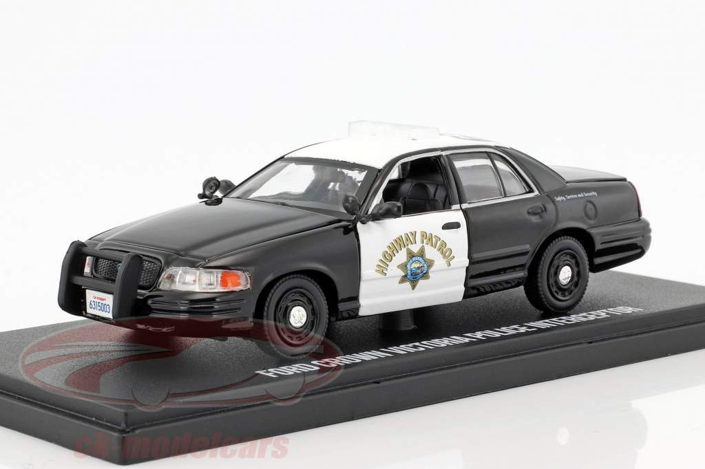 Ford Crown Victoria Police Interceptor Baujahr 2008 schwarz / weiß 1:43 Greenlight