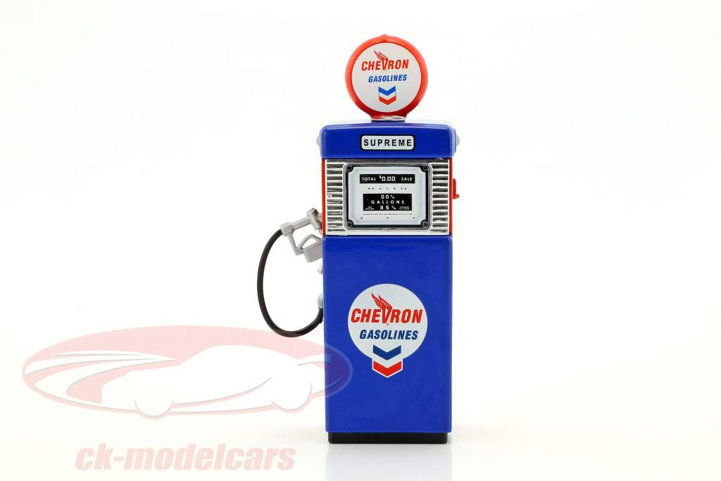 Wayne 505 Chevron Supreme gaz pompe 1951 bleu / blanc / rouge 1:18 Greenlight