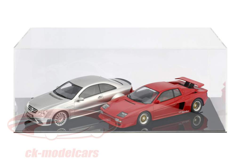 High quality showcase for 1 Modelcar in scale 1:12 or 2 modelcars in scale 1:18 black SAFE
