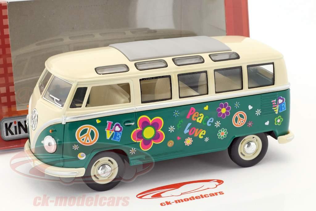 Volkswagen VW Hippie Bus Baujahr 1962 grün / beige 1:24 Kinsmart