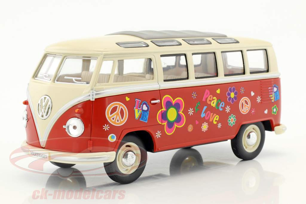 Volkswagen VW Hippie Bus year 1962 red / beige 1:24 Kinsmart