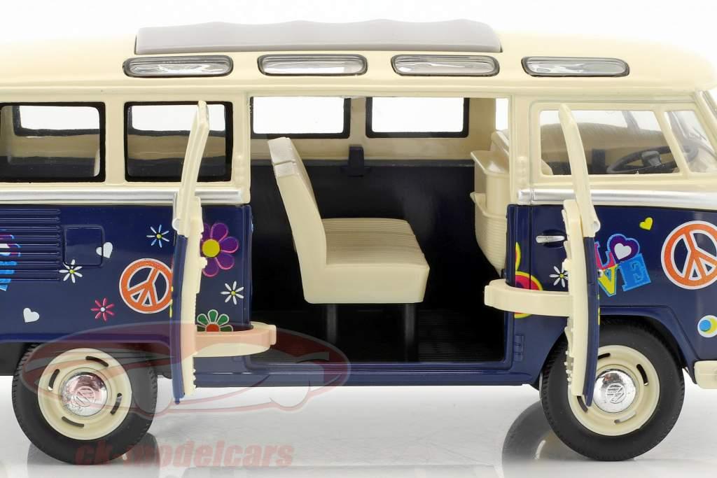 Volkswagen VW Hippie Bus année de construction 1962 bleu / beige 1:24 Kinsmart