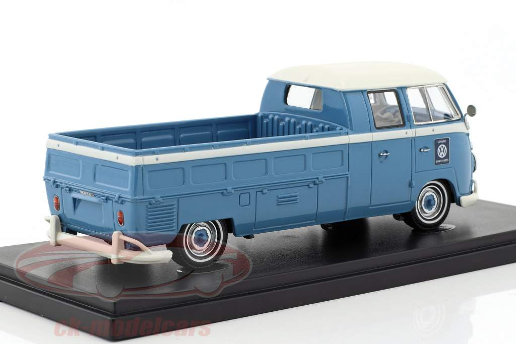 Volkswagen VW T1 bus double cabin long bed year 1961 light blue / White 1:43 AutoCult