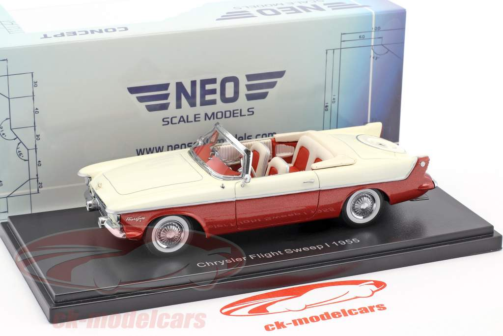 Chrysler Flight Sweep I année de construction 1955 blanc / rouge métallique 1:43 Neo