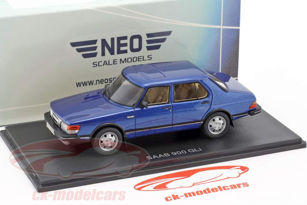 Saab 900 GLi year 1981 blue metallic 1:43 Neo