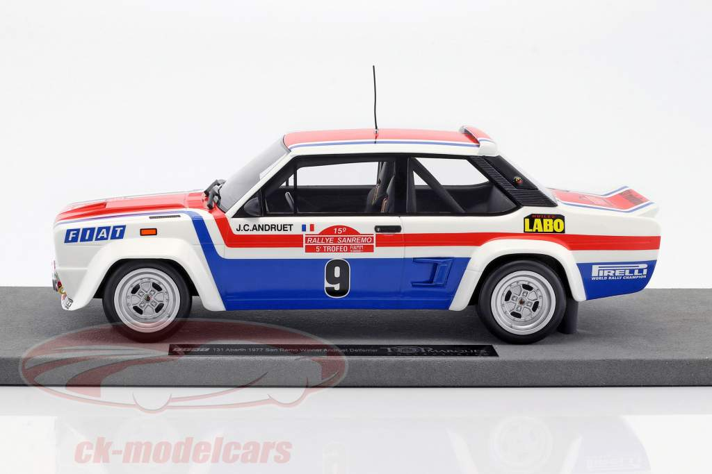 Fiat 131 Abarth #9 gagnant Rallye San Remo 1977 Andruet, Delferrier 1:18 TopMarques