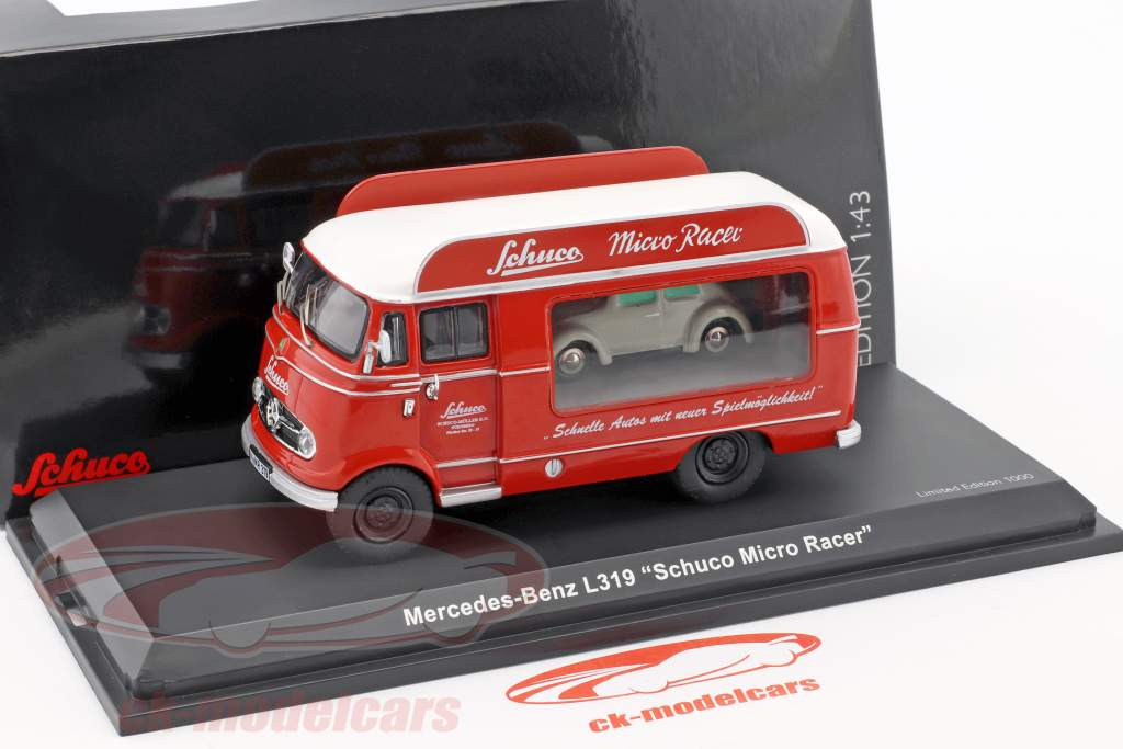 Mercedes-Benz L319 Werbewagen Micro Racer mit Piccolo VW Käfer rot / weiß 1:43 Schuco