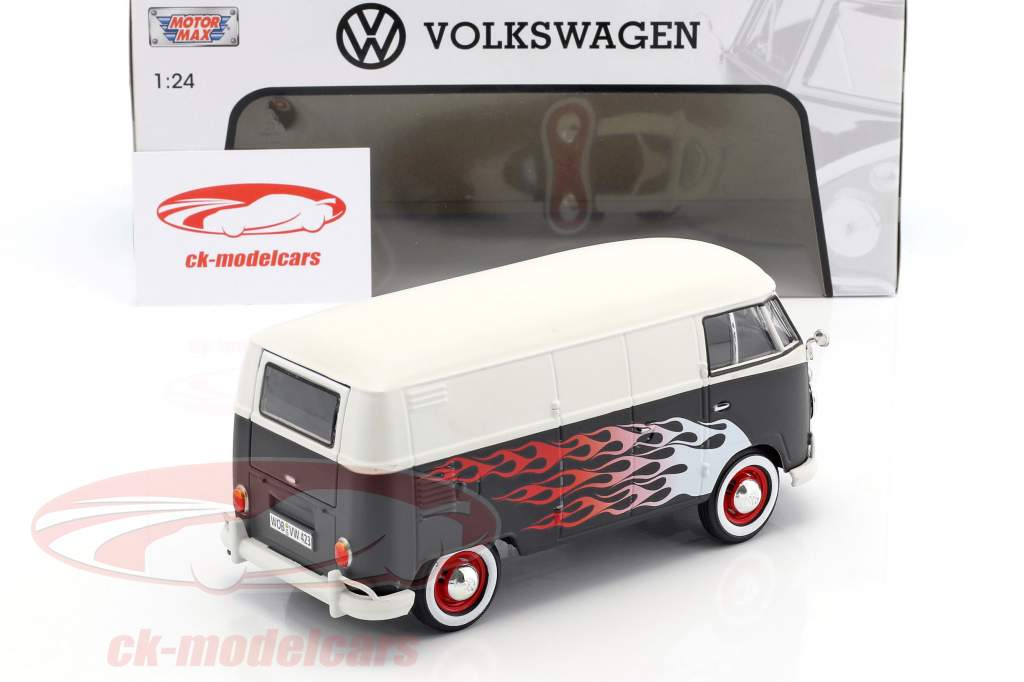 Volkswagen VW Type 2 T1 bus Hot Rod mat black / white With Flame 1:24 MotorMax
