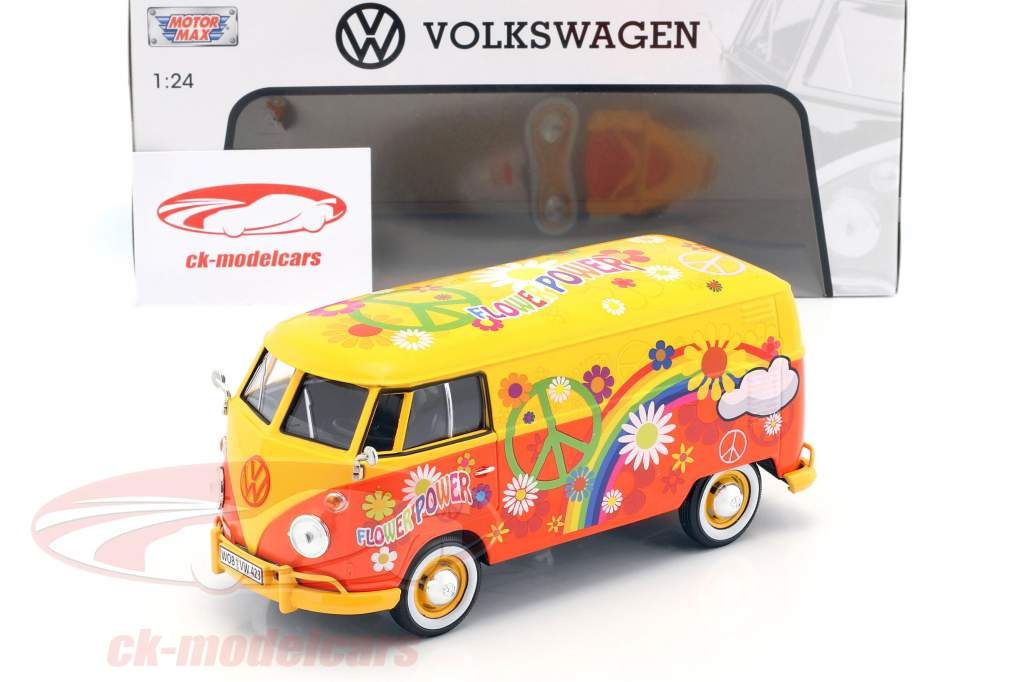 Volkswagen VW Type 2 T1 Bus Flower Power gelb / orange 1:24 MotorMax