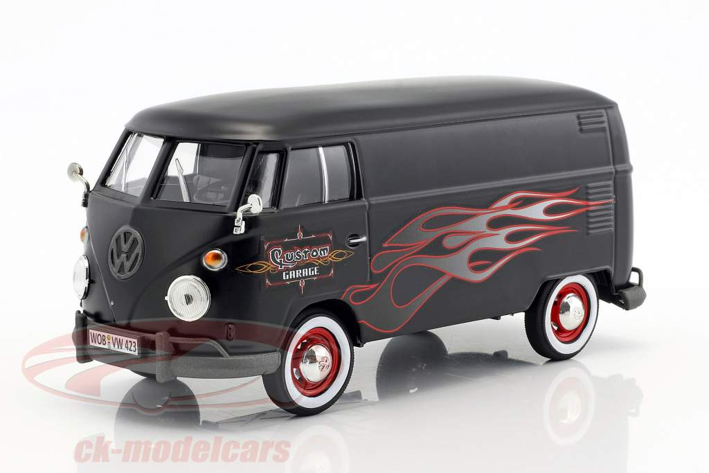 Volkswagen VW Type 2 T1 bus Custom Garage mat black with flames 1:24 MotorMax
