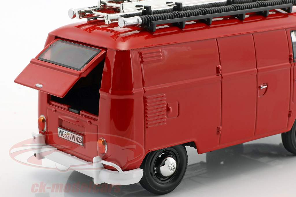 Volkswagen VW Type 2 T1 bus fire Department red 1:24 MotorMax