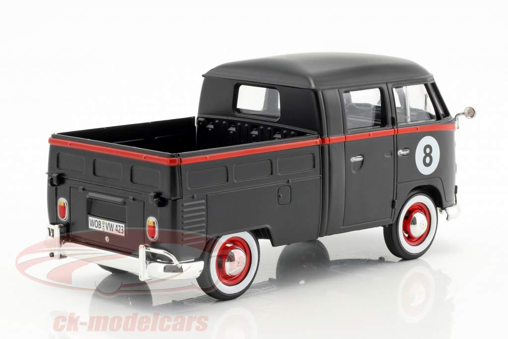 Volkswagen VW Type 2 T1 Pick-Up Hot Rod 8 Ball tappetino nero / rosso 1:24 MotorMax