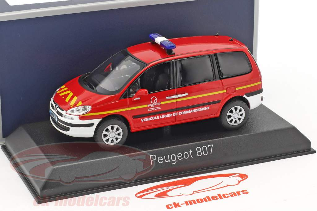 Peugeot 807 Pompiers year 2013 red / white 1:43 Norev