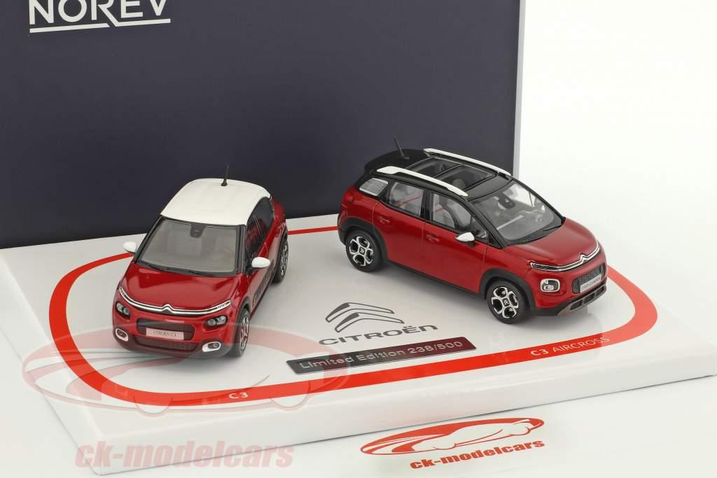 2-Car Set Citroen C3 & Citroen C3 Aircross anno di costruzione 2017 rosso 1:43 Norev