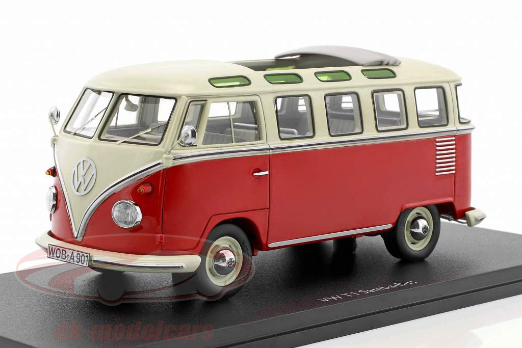 Volkswagen VW T1 Samba Bus red / white 1:32 Schuco